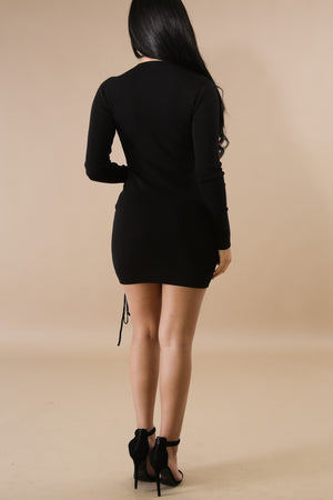 Plunging V-Neck Seductress Black Mini Dress with Eyelet Lacing