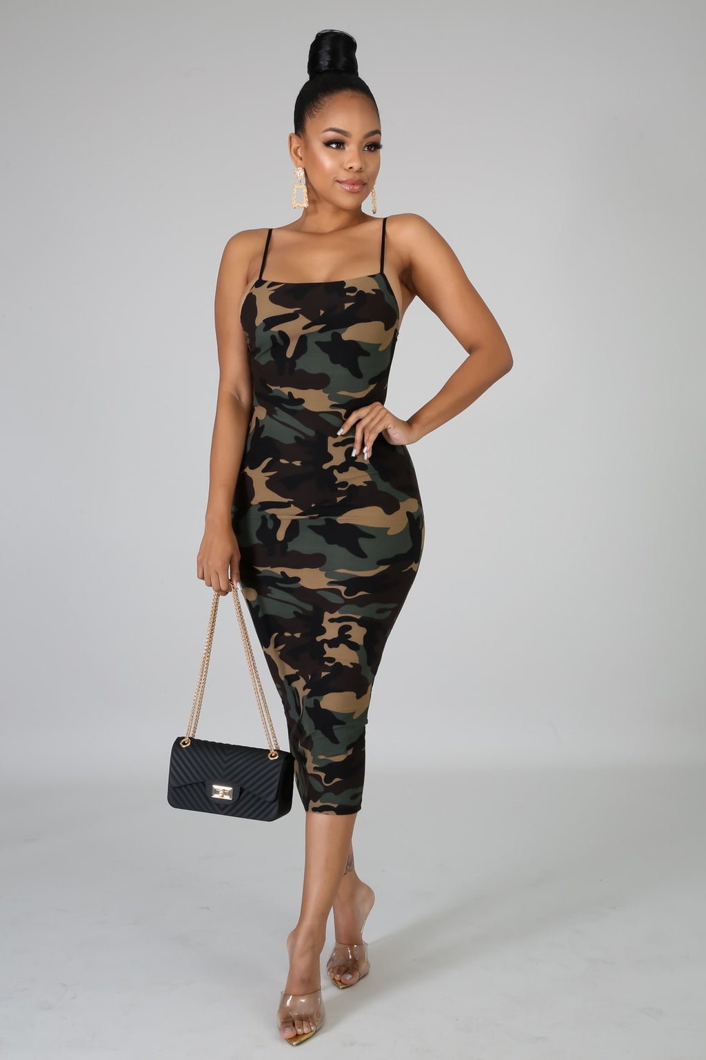 Ready for War Bodycon Spaghetti Strap Midi Dress with Camouflage Print