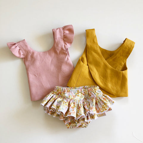 Desert Floral ruffle bloomers and Linen Pinafore Set