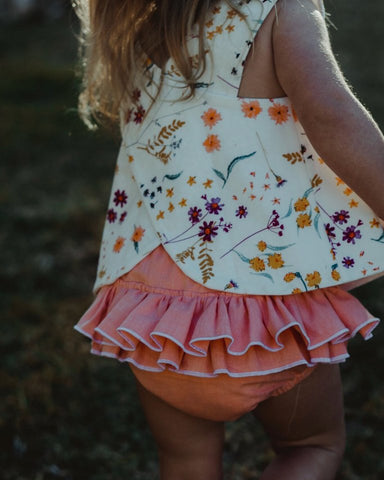 Marigold Pinafore and Coral Bloomer Set