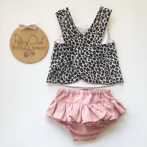 Leopard Pinafore and Blush Linen Bloomers or Shorties