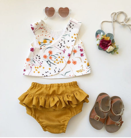 Marigold Pinafore and Amber Linen Bloomer Set