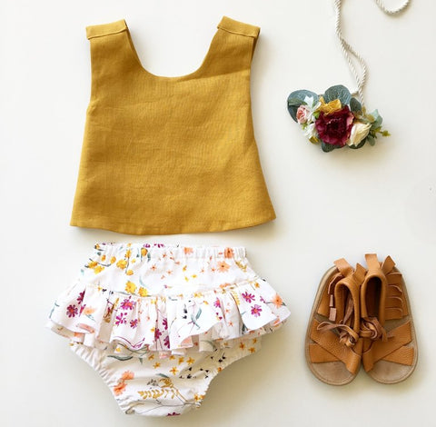 Amber Linen and Marigold Pinafore Set