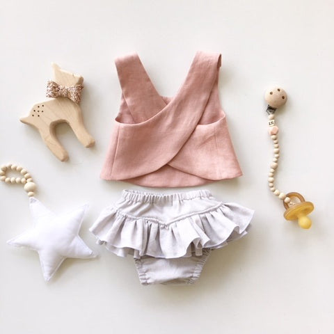 Blush Linen and Pebble Pinafore Set