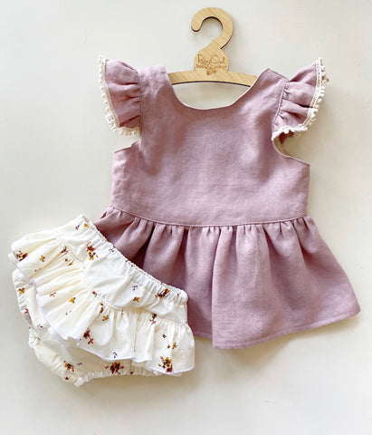 Lilac Linen peplum and Delicate Floral Bloomers