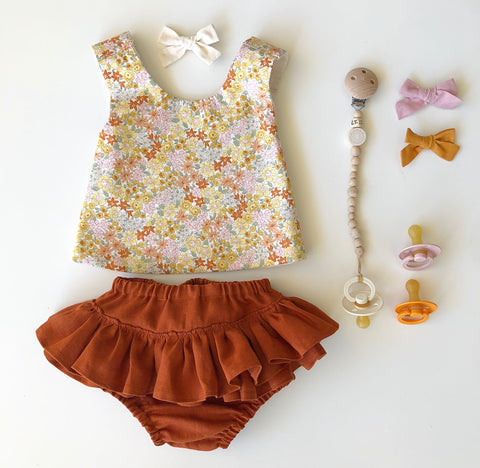 Desert Floral Pinafore set