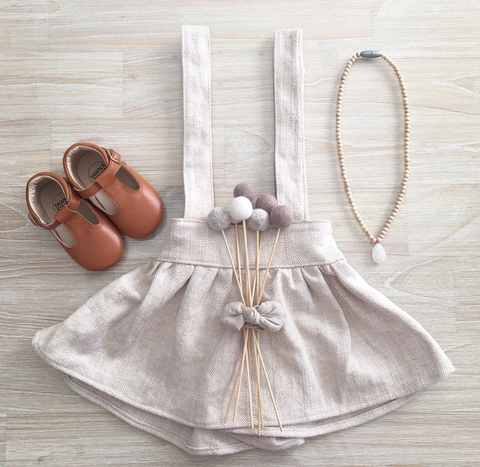 Oak herringbone heavy linen suspender skirt