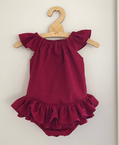 Ruffle Bum romper in linen or cotton choice of fabrics