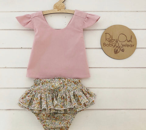 Dusty Pink Pinafore and Spring Floral Bloomers Set
