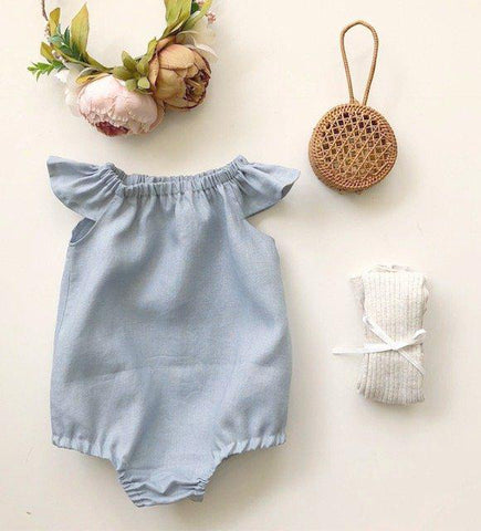 Duck Egg Blue Linen Romper or Swing Top
