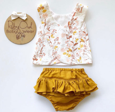 Wildflower Pinafore and Amber Linen Bloomer Set