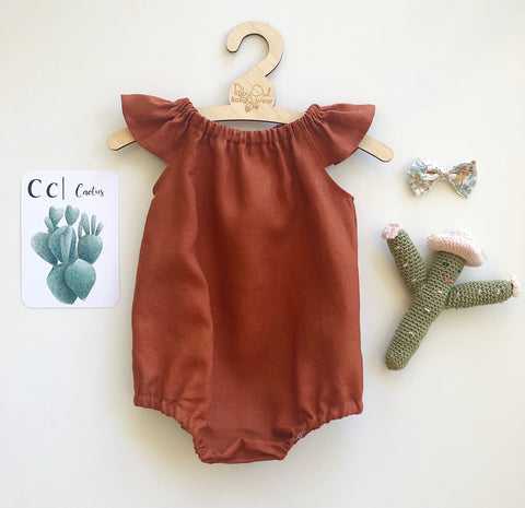 Paprika Linen Romper or Swing Top