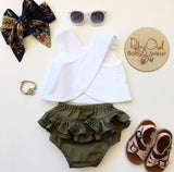 Khaki Pinafore Set