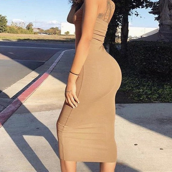 Off Shoulder Strapless Sexy Women Dress Sleeveless Straight Long Body con Dress - City Chick Fashions LLC