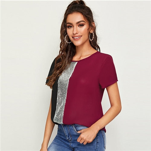 Sequins Contrast Panel Spliced Cut-And-Sew Top Women Tops and Casual Color - City Chick Fashions LLC