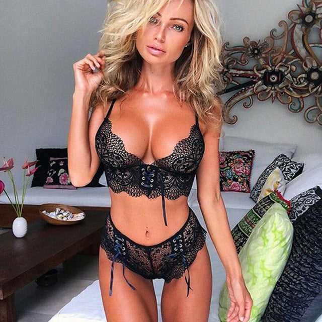 Sexy Women Underwear Lace up Bow knot Sleepwear Lace Bra Panties G-string Bra & Brief Sets - City Chick Fashions LLC