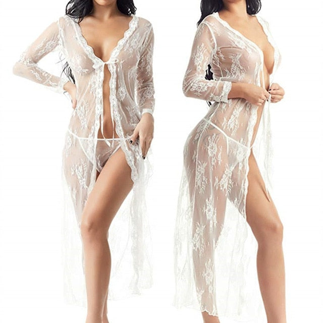 Women Lingerie Sexy Lace Long Robe Dress Babydoll Underwear G String - City Chick Fashions LLC