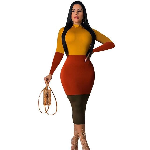 Sexy Bodycon Midi Dress Women Long Sleeve Turtleneck Tight Fitted Dresses Woman Party Night Club - City Chick Fashions LLC