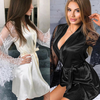 Sexy Large Size Sexy Satin Night Robe Lace Perfect Wedding Bride Gown For Women Nightwear - City Chick Fashions LLC