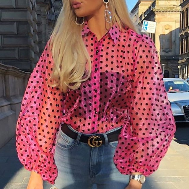 New Women Mesh Sheer Blouse Fashion Pearl Button Transparent White Shirt Female - City Chick Fashions LLC