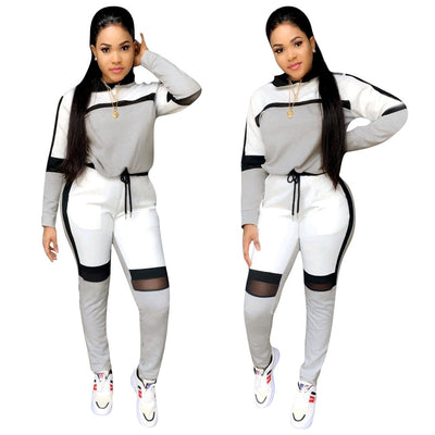 winter women long-sleeved sweater top joggers pants suit two pieces set fashion sportswear - City Chick Fashions LLC