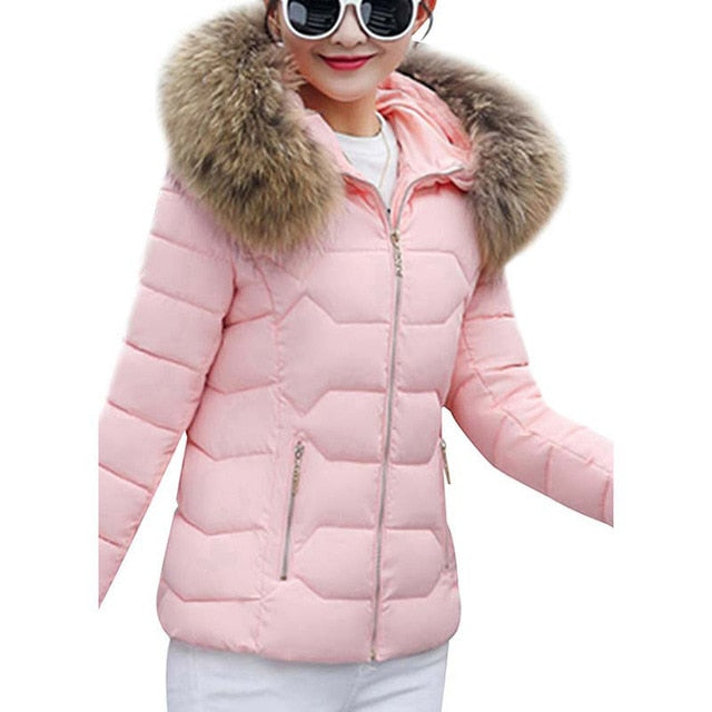 Winter Down Jackets Women Fashion Warm Coat Cotton Thickening Parka Fur Collar Cap Winter Clothes - City Chick Fashions LLC