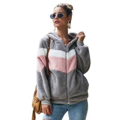 Hoodie Sweatshirt Top Women Striped Patchwork Jacket Long Sleeve Plush Outwear - City Chick Fashions LLC
