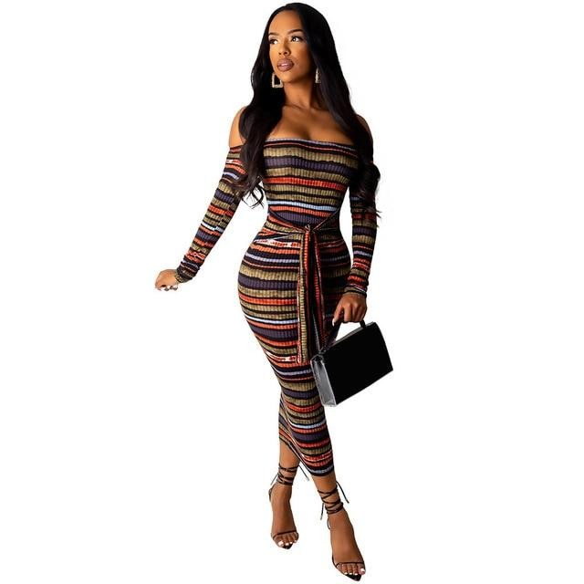 Strapless Striped Sexy Long Sleeve Off Shoulder Party Tight Dresses Woman Party Night Club - City Chick Fashions LLC