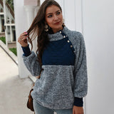 Women Long Sleeve Patchwork Color fashion Winter Pullover Black Ladies Plush Warm Tops Clothing - City Chick Fashions LLC