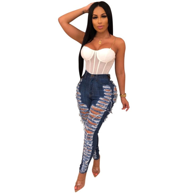 Sexy Ripped Jeans For Women Fashion Casual Club Hole Denim Pants - City Chick Fashions LLC
