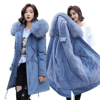 winter -30 degree women's Parkas coats hooded fur collar thick section warm winter Jackets - City Chick Fashions LLC