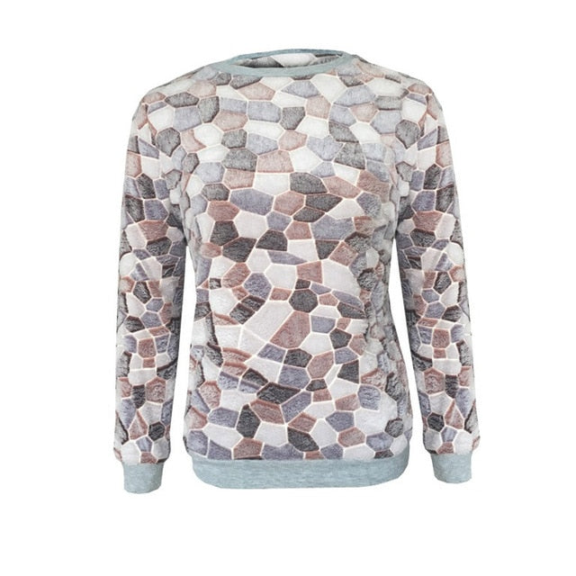 Women Sweater Pullover Fashion Casual O-Neck Long Sleeve Stone Printed Tops  winter clothes - City Chick Fashions LLC
