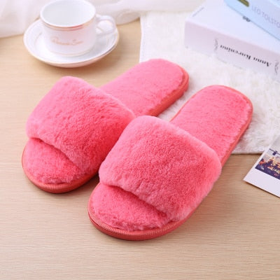 Hair and slippers women fashion home anti slip thick bottom moon cotton slippers - City Chick Fashions LLC