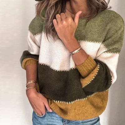 Fashion Patchwork O-neck Autumn Winter Sweater Women Long Sleeve Warm Knitted - City Chick Fashions LLC