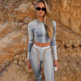 women fitness two pieces set tracksuit long sleeve sportswear slim outfit - City Chick Fashions LLC