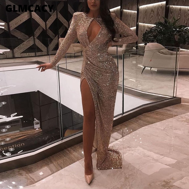 Women Sexy O-neck Hollow Out Draped High Waist Long Sleeve Long Dress - City Chick Fashions LLC