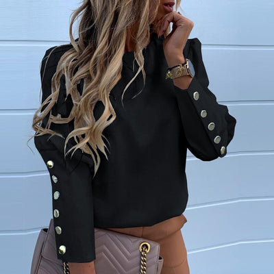 Elegant New Puff shoulder blouse shirts Office Metal Buttoned Detail Blouses women - City Chick Fashions LLC