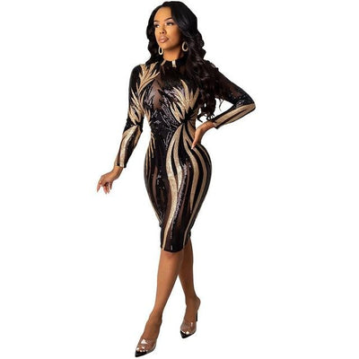 Sequin Sexy Mesh Sheer Body-con Midi Dress Long Sleeve See Through Tight Dresses - City Chick Fashions LLC