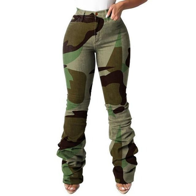 Womens Camouflage Print High Waist Ruched Jeans With Pockets Sexy Ladies Trousers - City Chick Fashions LLC