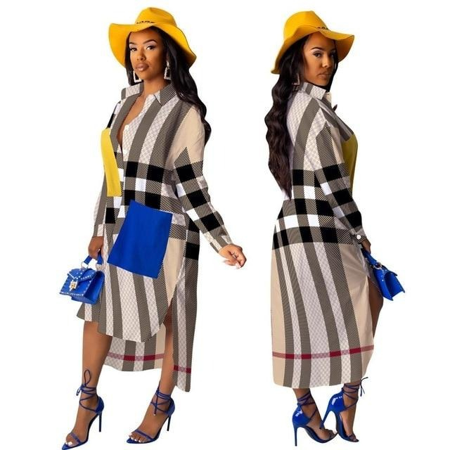 Dresses for Women Long Sleeve Dress African Clothes Fashion Dashiki Shirt Dress Ladies - City Chick Fashions LLC