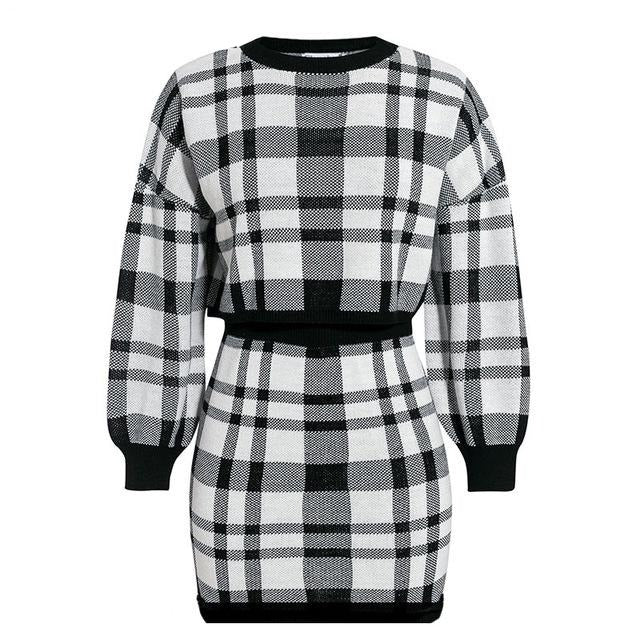 2 piece set sexy dress Women autumn elegant long sleeve mini dress Winter female - City Chick Fashions LLC