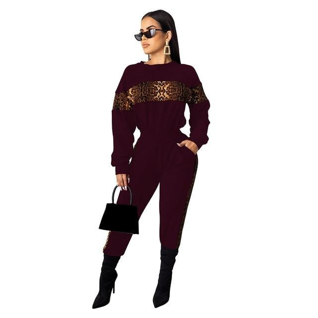 Leopard Print Two Piece Set Party Club Outfit For Women Long Sleeve - City Chick Fashions LLC