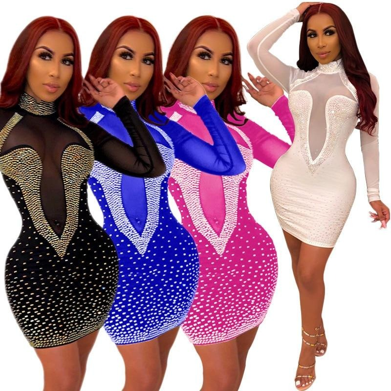 women hot drilling rhinestones mesh splicing bodycon midi mini dress female sexy night party - City Chick Fashions LLC
