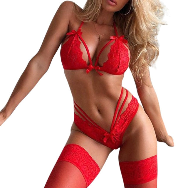Women Sexy Lingerie Set Lace Bow and knot Bra And Panties Set For Ladies Red - City Chick Fashions LLC