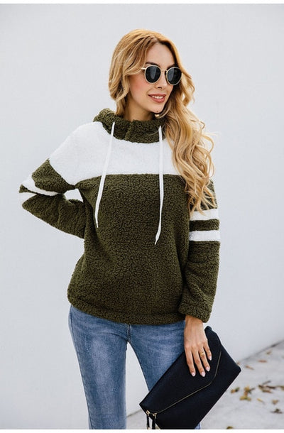Women Winter Hoodie Sweatshirt Long Sleeve Patchwork Tunic Lace-up - City Chick Fashions LLC