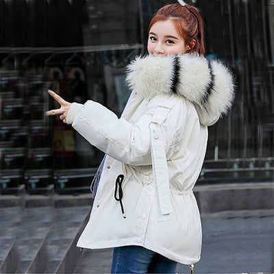 Down jacket winter with big fur collar winter coat women Clothes with Hats - City Chick Fashions LLC