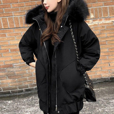 Winter Women Black Long Jacket Fur Hooded Casual Snow Clothing Ladies Warm Cotton-padded Long - City Chick Fashions LLC