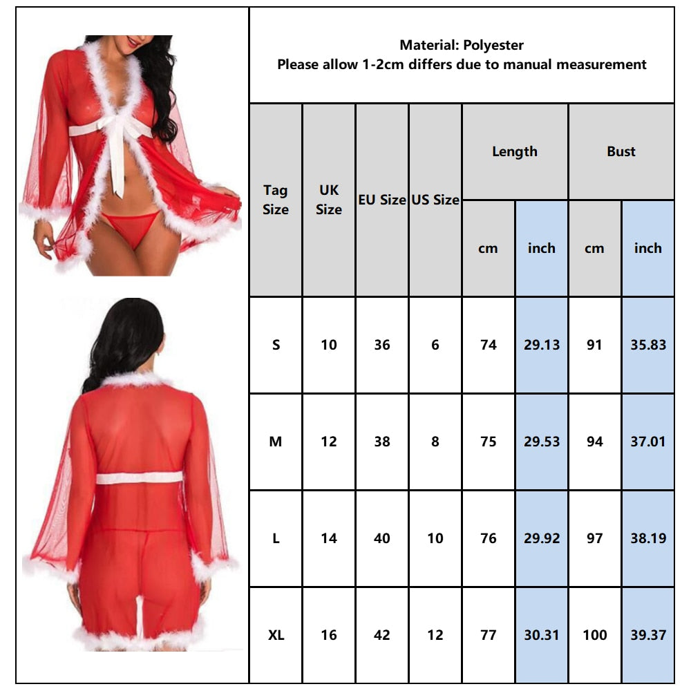 Christmas Underwear Women Transparent Lace Lingerie With G-string Xmas Lingerie - City Chick Fashions LLC