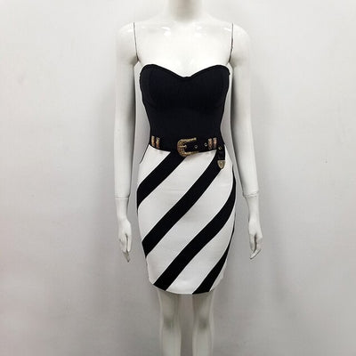 2019 Autumn New Women's Black Striped Tube Top Strapless Belt Metal Buckle Mini Bandage Dress Club Party Dress - City Chick Fashions LLC