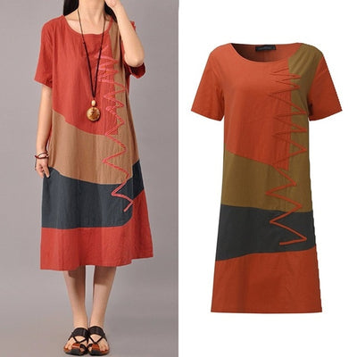 Women Patchwork Sundress ZANZEA 2020 Summer Maxi Dress Kaftan Casual Sleeveless Tunic Vestido Female 100% Cotton Robe Plus Size - City Chick